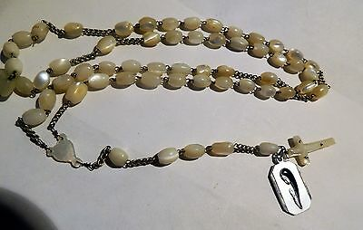 vintage mother of pearl rosary beads necklace