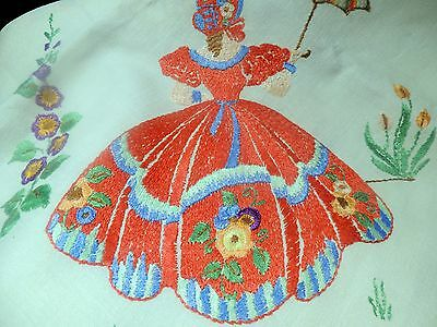 superb vintage hand embroidered crinoline lady linen tablecloth 50x50 inches