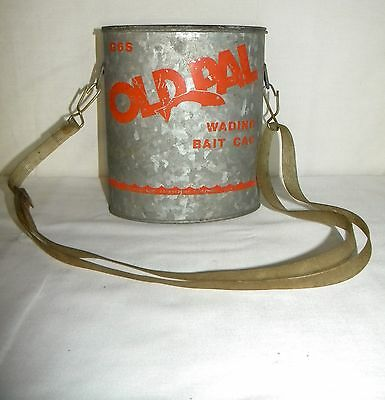 Vintage 1950s 1960s Old Pal Oval Bait Bucket Fishing Minnow Pail Outdoor Decor