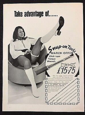 Vintage 1972 Motor Sport Magazine Advert - SNAP-ON TOOLS, Wrench, Seated Girl