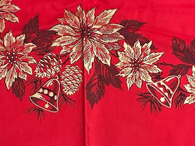 "Beautiful UNUSED Vintage Christmas Red Glittery Gold Tablecloth Cotton 50"" CRISP"