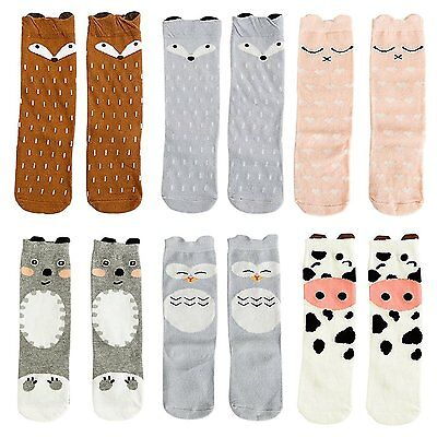 Gellwhu Baby Girls Boys Knee High Stockings Cartoon Animal Socks 6 Packs Set 1-3