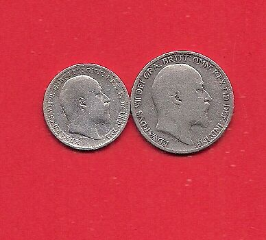 1907 Sterling Silver Sixpence &1908 Threepence Edward Vii Look