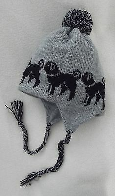 PUG black NEW knitted lined GREY ADULT SIZE TRAPPER EAR FLAP HAT