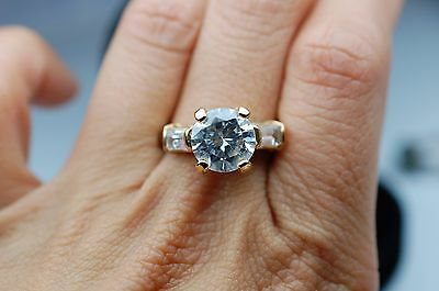 CZ Engagement Ring in Sterling Silver - Stamped 925