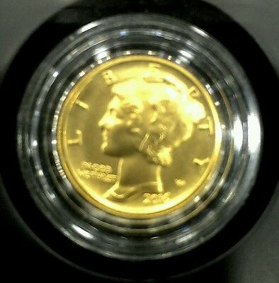2016 24k 999 gold mercury dime 1/10 Oz coin united states of America