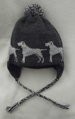WEIMARANER dog NEW knitted lined ADULT SIZE GREY TRAPPER EAR FLAP HAT