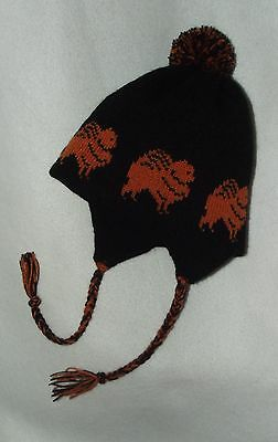 POMERANIAN dog knitted lined BLACK  ADULT SIZE  TRAPPER EAR FLAP HAT