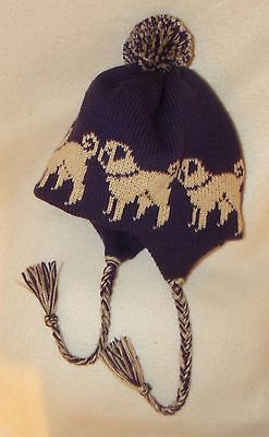 PUG fawn dog NEW knitted lined PURPLE ADULT SIZE TRAPPER EAR FLAP HAT