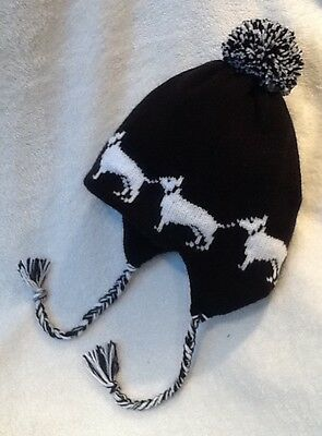 BULL TERRIER dog NEW BLACK  knitted lined ADULT SIZE  TRAPPER EAR FLAP HAT