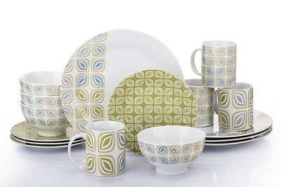 16 Piece Dinnerware Set Table Plates Dishes Coffee Cups Bowls Dinner Decoration