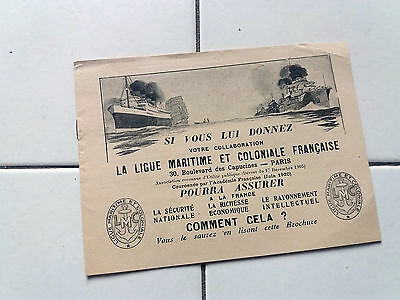 Document ancien  Ligue Maritime et Coloniale Française