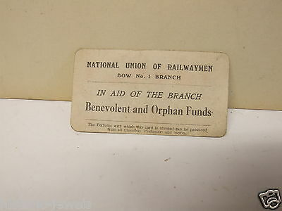 N.U.R Bow No1 branch trade union card scented