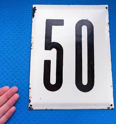 """Russian House number """"50"""" Metal Plate Enamel Plaque Street Sign Camp USSR"""
