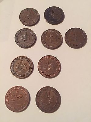 9 x 2 Pfennig 1959 - 1968 Deutschland,  West Germany