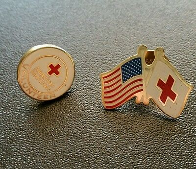 American red cross pins flags and volunteer