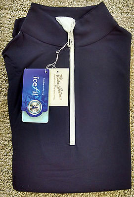 Tailored Sportsman Ladies Icefil Zip Top Riding Equestrian Shirt sz M,L Navy NWT