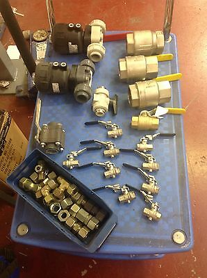 Job Lot Of New Plastic And Brass Industrial Valves And Fittings 3/8 - 2 Inch