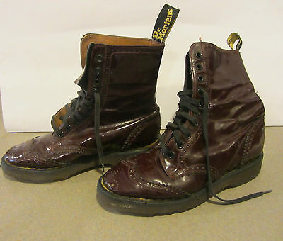 Vintage Doc Martens Purple Patent Leather Wing Tip Made In England Rare!!