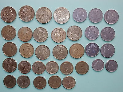 34 Greek coins 1980s/90s