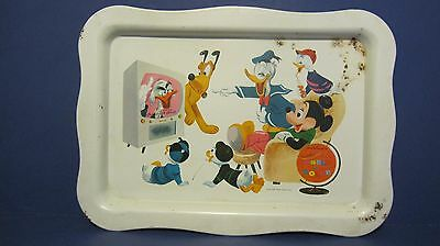 1961 Walt Disney Wonderful World Of Color TV Serving Tray Mickey Mouse Pluto