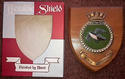 HMS NUTHATCH - Old Royal Navy Hand Painted Ship Crest / Plaque / Shield