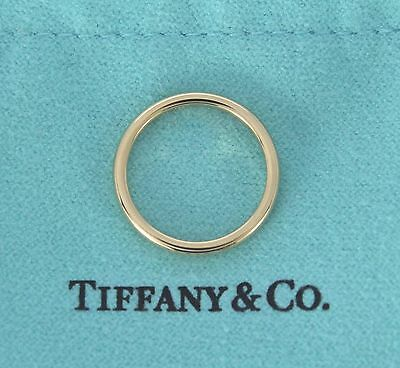 $700 Tiffany Lucida 18K Yellow Gold 2mm Wedding Anniversary Band Ring Size 5.5