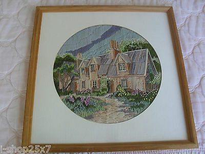 Completed cross-stitch needlepoint tapestry pretty house flower garden 41cm sq