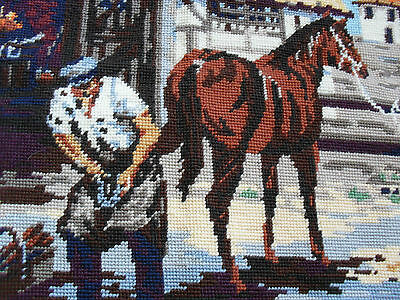 Completed large wool tapestry village blacksmith horse Penelope Made in England