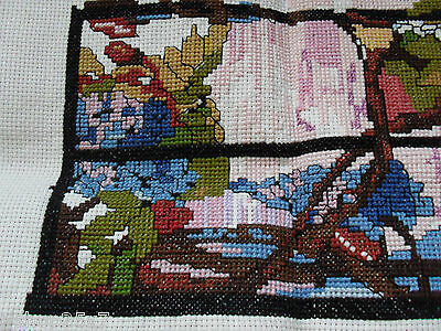 View out of a window - fine cross-stitch needlepoint wool tapestry unfinished