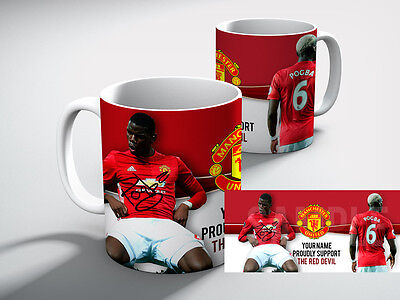 Personalised MANCHESTER UNITED Football POGBA SUPPORT RED DEVIL Mug Gift