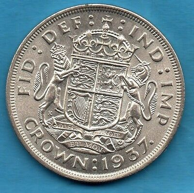 1937 King George Vi Silver Crown Coin. Royal Arms On Reverse. Five Shillings.