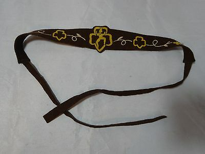RARE Vtg 50s BROWNIE Girl Scout BROWN Felt FLOCKED Printed HEADBAND Back Tying