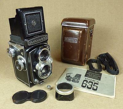 YASHICA 635 TLR CAMERA - with CASE, CAPS, INSTRUCTION BOOK, LENS HOOD
