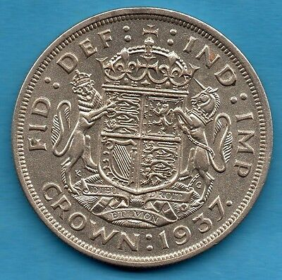 1937 King George Vi Silver Crown Coin. Royal Arms Reverse.