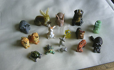 Mixed lot 16 miniature animal collectibles, mice rabbits raccoons turtles dogs