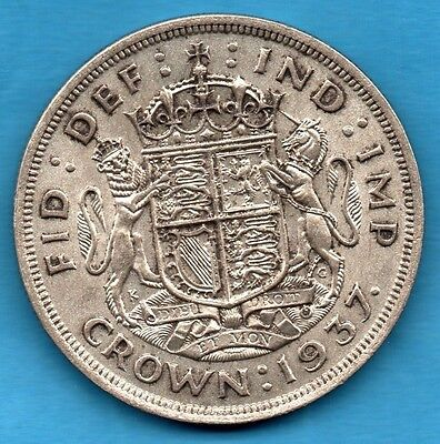 1937 King George Vi Silver Crown Coin. Royal Arms. Five Shillings.