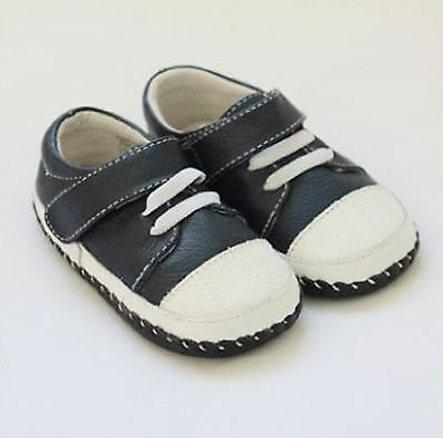 Boys Toddler - REAL Leather Soft Sole Baby Shoes - Navy Blue