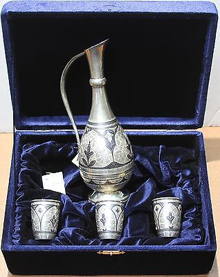 Russian Silver Carafe Set with 3 Silver Niello Vodka Shot Cups and Box