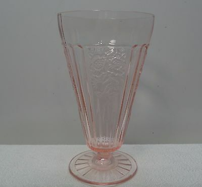 "1 Mayfair Pink Depression Hocking Glass Co 6 1/2"" Footed Glasses Goblets Parfait"