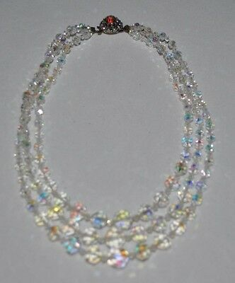 Vintage Glass Bead Necklace with rhinestone clasp