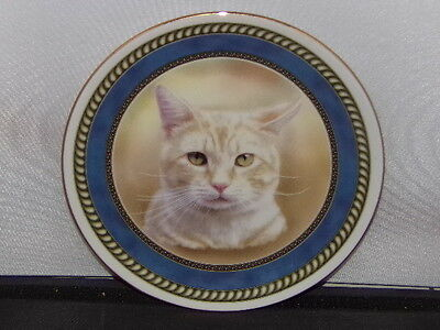 "Crown Windsor Fine Bone China Ginger & White Cat 8 1/4"" Plate  Cats Collection"