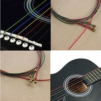 1M One Set 6pcs Guitar Strings Rainbow Colorful Color Acoustic Guitar Strings