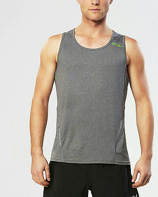 Men's 2XU Urban Tank Top - Ink Marle/Green Flash - Medium