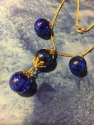 "Grandmas Estate 18"" GT Cobalt Blue Glass Necklace (MIA)"