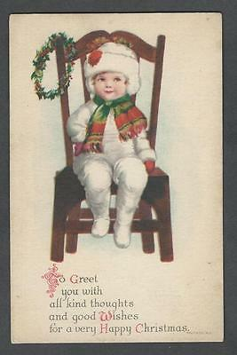 Postcard Christmas Clapsaddle  Wolf No.5 Boy White Snowsuit in Chair w/Wreath