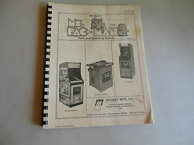 MS PAC MAN missing back cover w/schematics   ARCADE GAME  owners manual