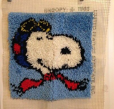 Super Fun Snoopy The Red Baron Finished Hook Rug Piece 15x15