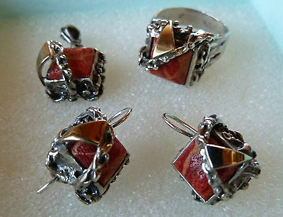 Antique 925 Sterling Silver Natural Gemstone Coral Earrings Ring Jewlery Set