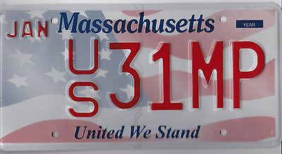 """🌟🌟🌟  AUTHENTIC USA 2010's MASSACHUSETTS """"UNITED WE STAND"""" LICENSE PLATE. WOW!"""